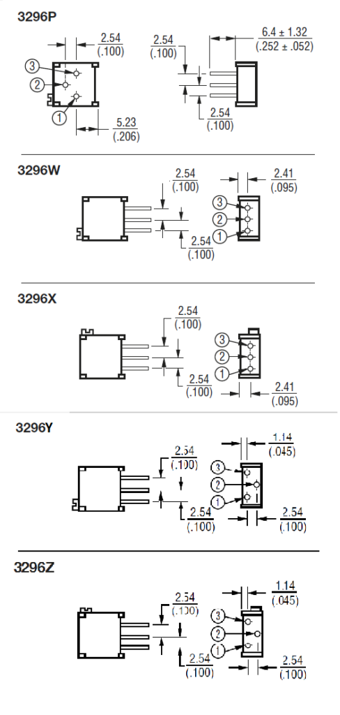 стили исполнений резисторов 3296