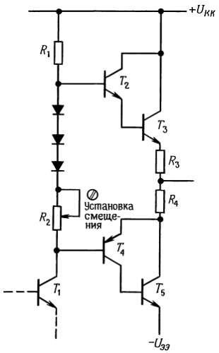 Мощный двухтактный каскад, в котором использованы выходные транзисторы только n-р-n типа