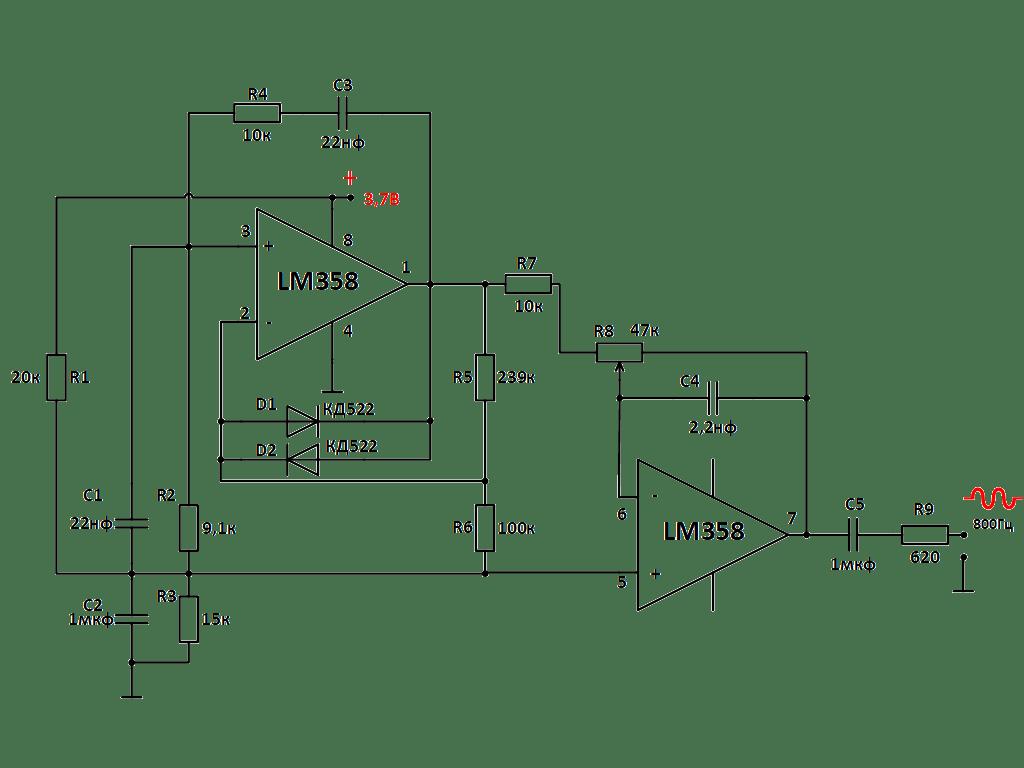 Генератор для проверки линий связи на LM358 и мосте Вина. Схема.