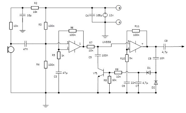 схема усилителя на lm358