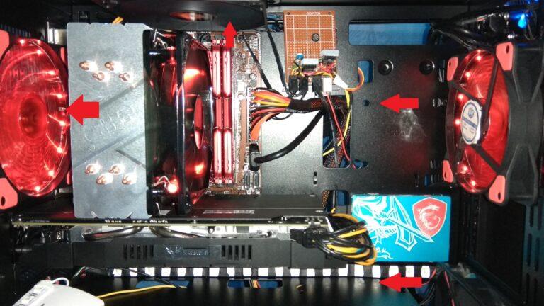 Протекание воздушного потока внутри компьютера