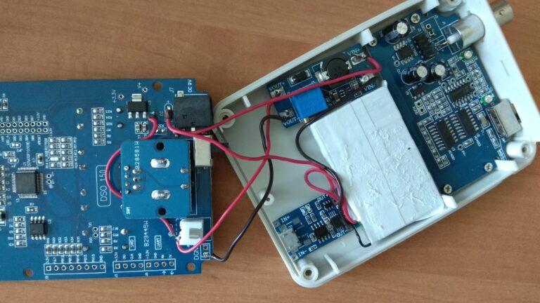 осциллограф DSO-SHELL (DSO150) установка акккумулятора