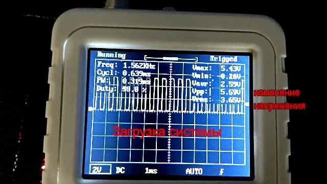 Сигналы ШИМ контроллера на разъеме вентилятора материнской платы при загрузке