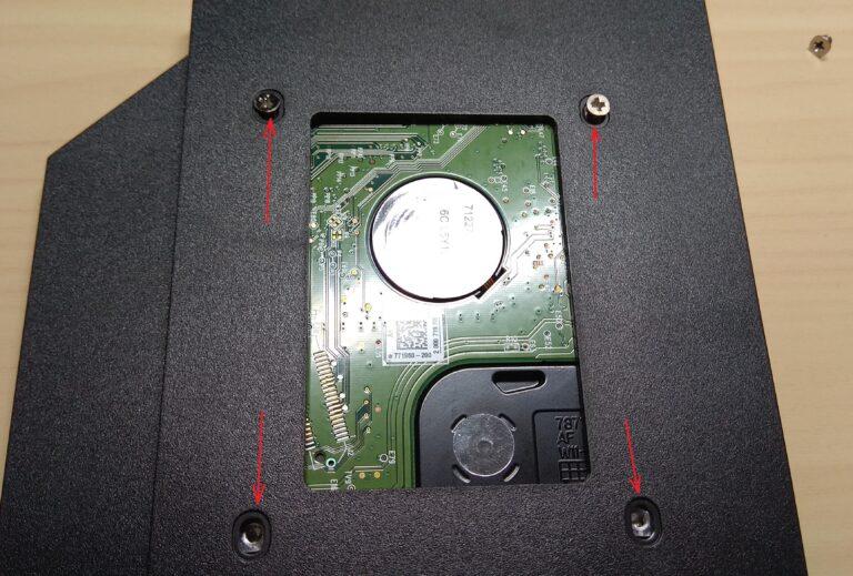 закрепление жесткого диска в адаптере dvd-hdd