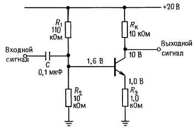 Каскад усиления переменного тока с общим эмиттером с отрицательной обратной связью в цепи эмиттера