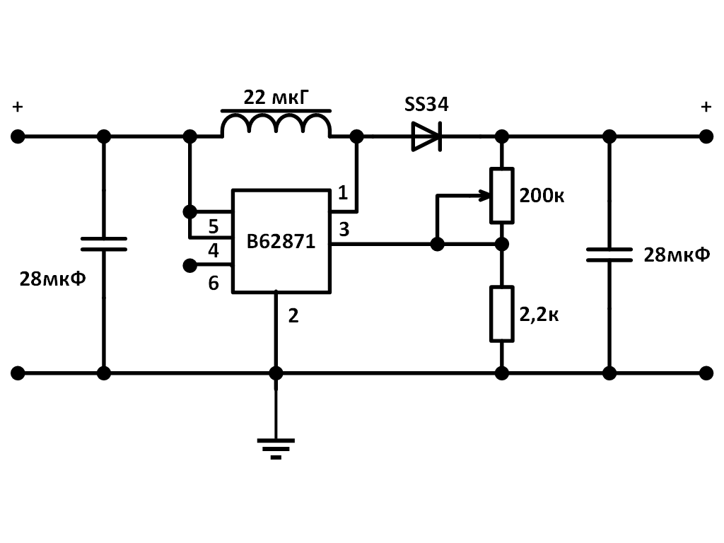 Принципиальная схема mt3608