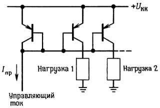 Токовые зеркала. Схема токового зеркала с несколькими выходами. Эта схема широко используется для получения нескольких программируемых источников тока.