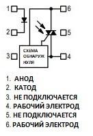 Внутренняя структура симисторной оптопары