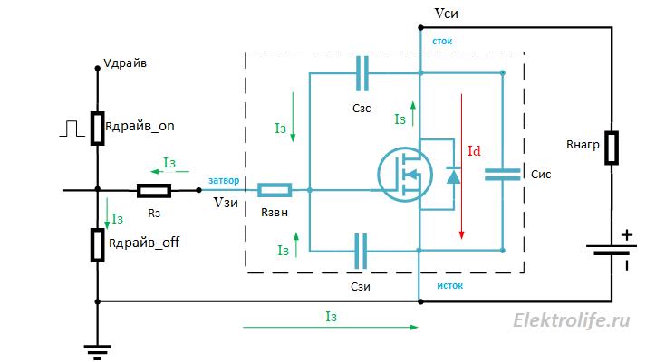 протекание токов при выключении MOSFET