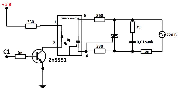 схема управления оптосимистором при слабом управляющем токе