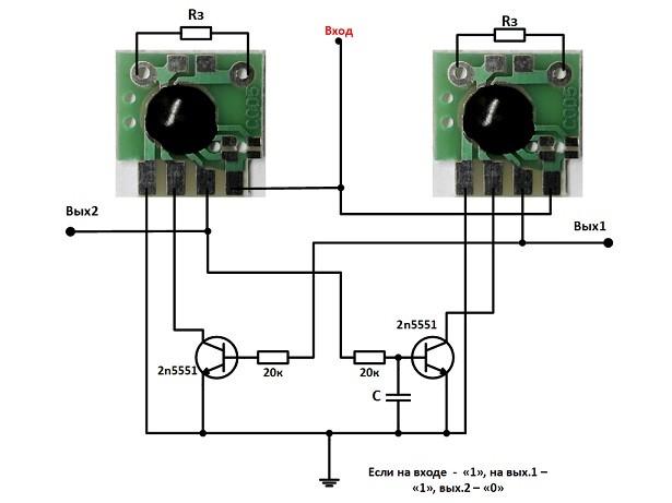 Циклический таймер на чипе C005 в элементах логики.