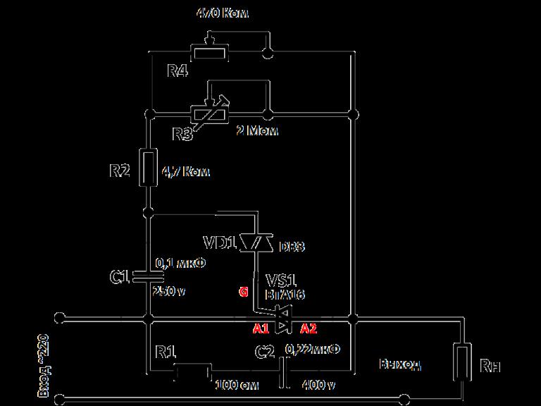 принципиальная схема китайского регулятора мощности на симисторе