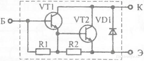 Эквивалентная схема составного транзистора включённого по схеме Дарлингтона