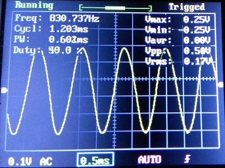 Генератор для проверки линий связи на LM358 и мосте Вина. Вид синусоиды