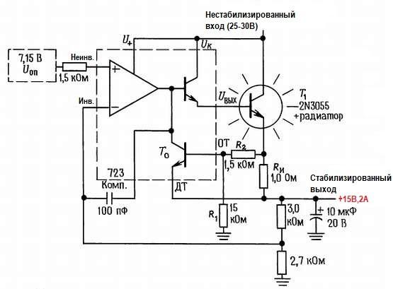 Мощный стабилизатор, снабженный схемой ограничения тока с обратным наклоном характеристики