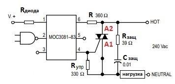 типичная схема подключения симистора к оптопаре