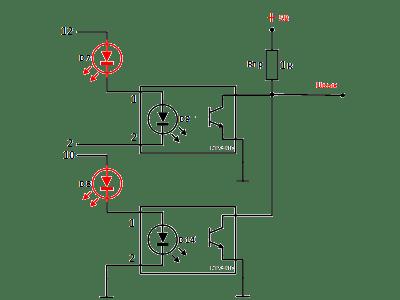 упрощенная схема, подключение открытых коллекторов оптронов