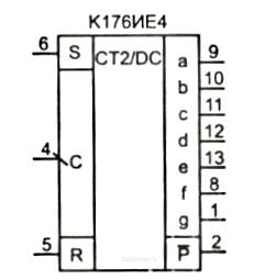 счетчик-дешифратор к176ие4