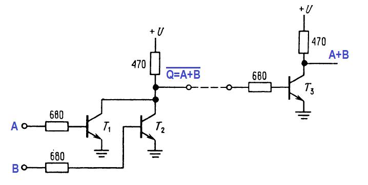 транзисторный вентиль или-не