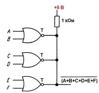 Объединение элементов логики ИЛИ с открытым коллектором