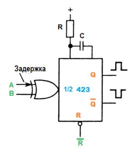 Схема 423 Одновибратор. Характеристики. Применение.