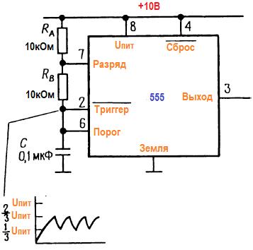 Таймер на 555 схеме в качестве генератора. имс 555, включенная как генератор