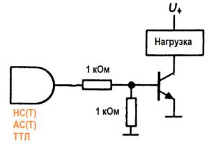 применение п-р-п-транзистора для переключения сильноточной нагрузки с помощью 5-вольтовой логики