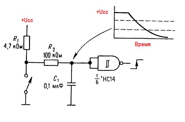 Правила соединения КМОП- и ТТЛ- логических элементов. Схема защиты от дребезга (RС-цепочка и триггер Шмитта)