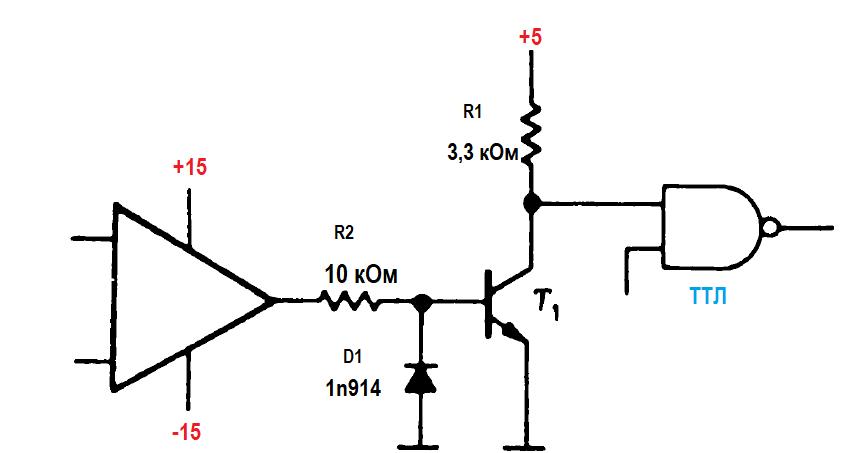 Правила соединения КМОП- и ТТЛ- логических элементов. Управление логикой от компараторов и операционных усилителей 3
