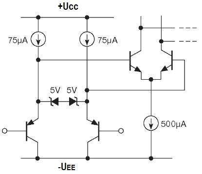 Входы, выходы компараторов. Упрощённая схема входного каскада LM311 - классического биполярного компаратора.