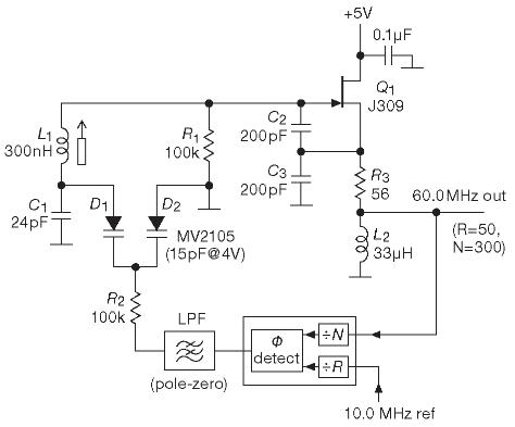 Малошумящий LC генератор на полевом транзисторе, используемый в схеме фазовой автоподстройки частоты