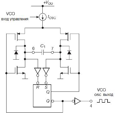 Фазовая автоподстройка. RC генератор, управляемый напряжением и используемый в классической схеме PLL '4046