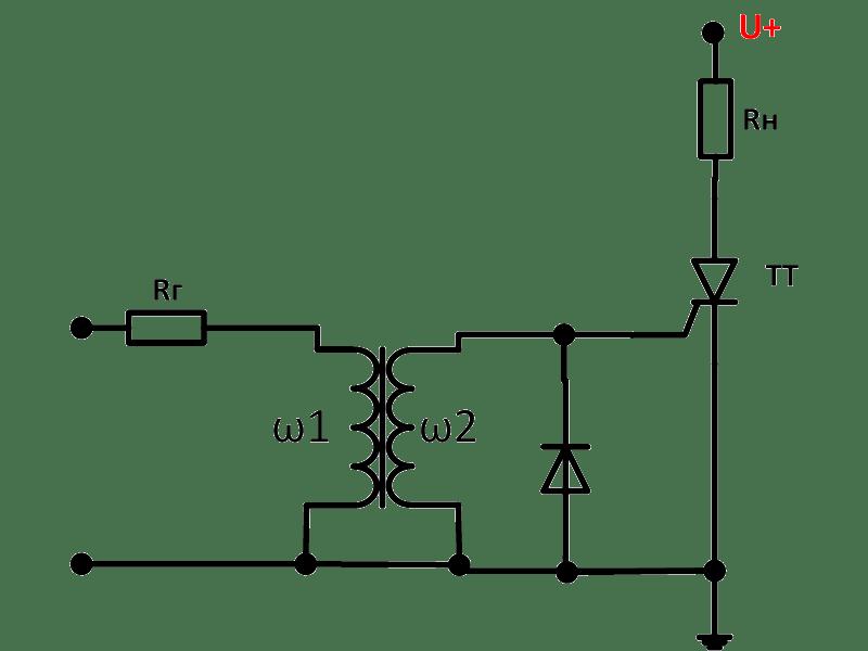 Цепь отпирания тиристора с импульсным трансформатором