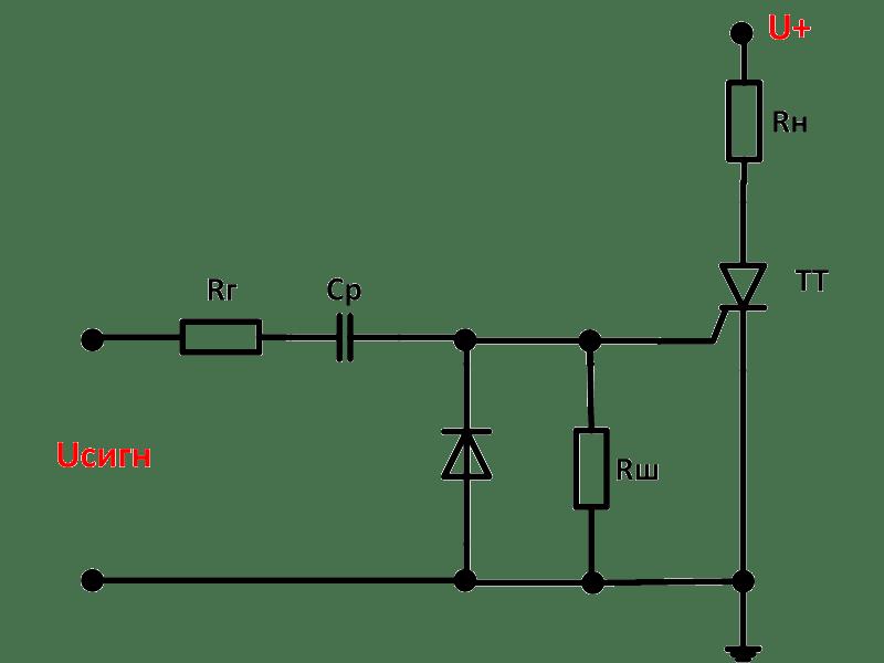 Цепь отпирания тиристора с разделительным конденсатором