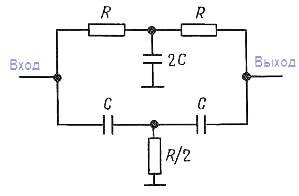 Конструкции активных фильтров. Пассивный двойной T образный фильтр пробка.
