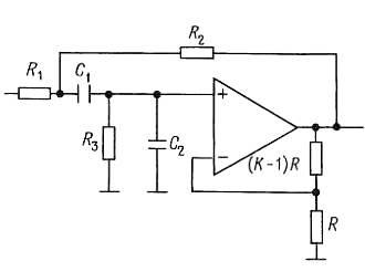 Схемы активных фильтров на ИНУН. полосовой фильтр
