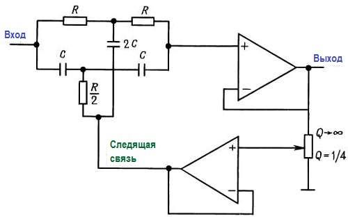 Конструкции активных фильтров. Т-образный фильтр со следящей связью.