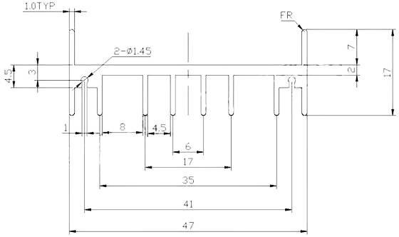 чертеж радиатора 47x35x17 мм. Радиаторы для мощных транзисторов