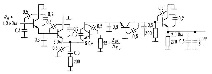 Высокочастотные быстродействующие приборы. Эквивалентная схема по переменному току для усилителя на транзисторах 2N5179.