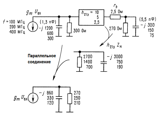 Эквивалентные схемы для расчета верхней сопрягающей частоты схемы_ 2