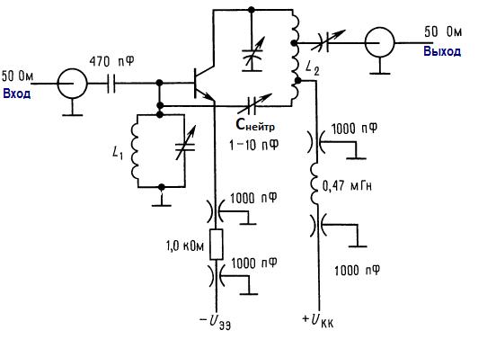 Соединительные линии высокочастотных схем. Резонансный ВЧ усилитель на 200 МГц с нейтрализацией