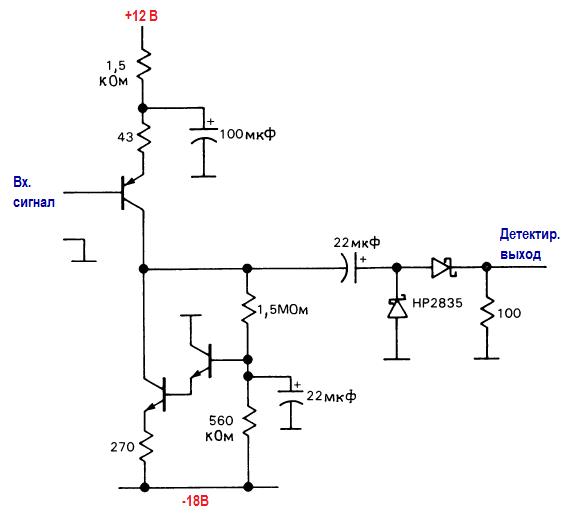 Элементы высокочастотных схем. Широкополосный линейный детектор с источником тока.